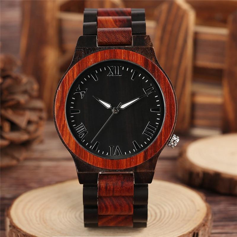 Deluxe весь сандалового дерева часы в сдержанном стиле римские цифры набора деловых людей Дерево наручные часы Природный минималистский полн...