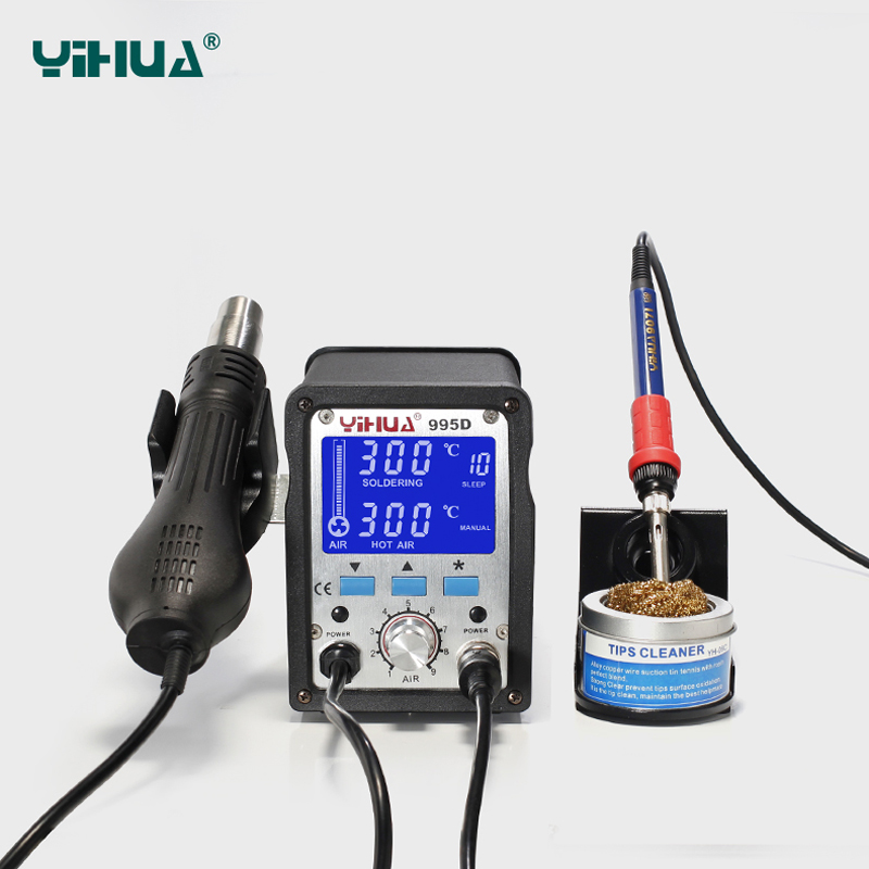 YIHUA Soldering Station 995d Hot Air Gun Soldering Iron Motherboard Desoldering Welding Repair 110V/220V 2 In 1 Electric iron hot selling yihua 926 adjustable temperature electronic soldering iron station
