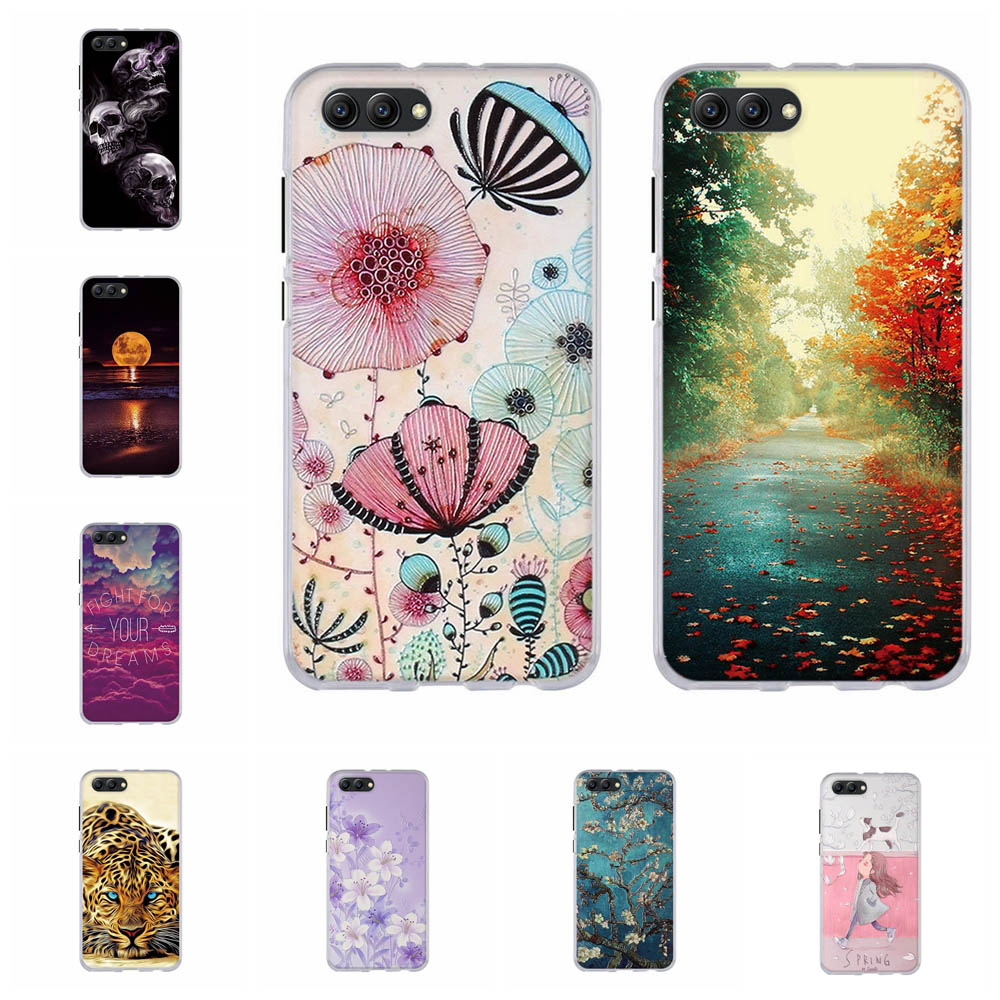 For Huawei Honor View 10 V10 Cover Soft TPU Silicone For Huawei Honor View 10 Case Girl Patterned For Huawei Honor V10 Coque Bag image