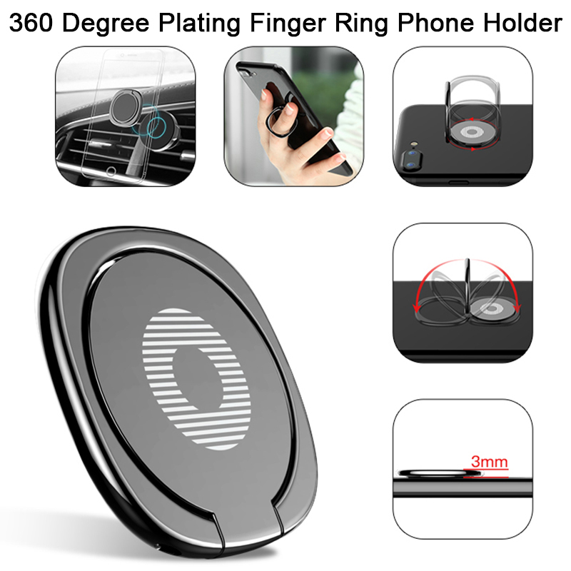 Universal Finger Ring Phone Holder On Mobile Phone For Xiaomi Huawei Honor Plating Adhesive 360 Rotatable Holder Stand Bracket