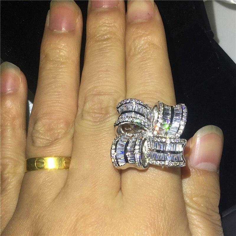 Bijoux de grande fleur élégant 925 bague en argent Sterling AAAAA Zircon Cz bagues de mariage de fiançailles pour les femmes cadeau de doigt de mariée - 6