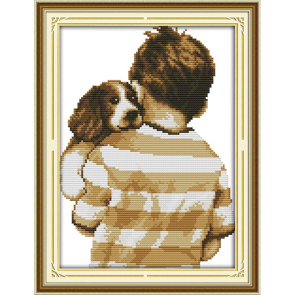Joy Sunday The dog with the master  Chinese cross stitch kits  Ecological cotton stamped printed DIY wedding decoration for home