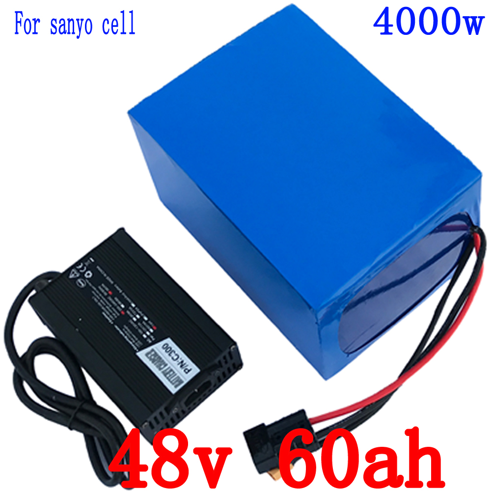 48V 60Ah 4000W use for sanyo cell electric bicycle lithium Battery with 100A BMS and 5A Charger li-ion scooter battery pack customize 51 8v 35ah lithium ion battery triangle style 52v 1500w electric bike battery with bag bms for sanyo ga3500 cell