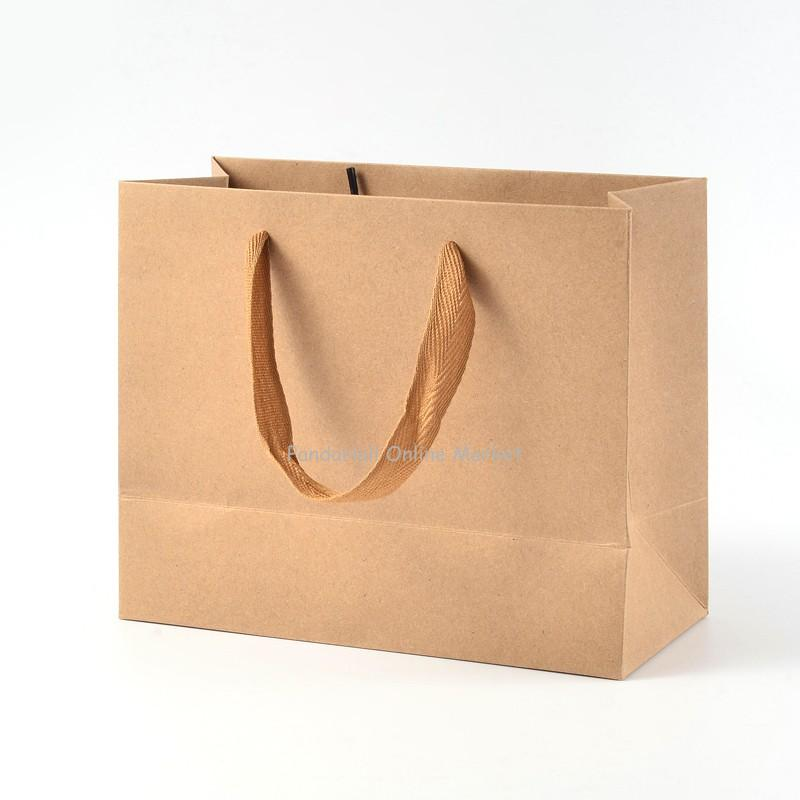 Rectangle Kraft Paper Pouches Gift Shopping Bags, with Nylon Thread, BurlyWood, 22x18x10cm