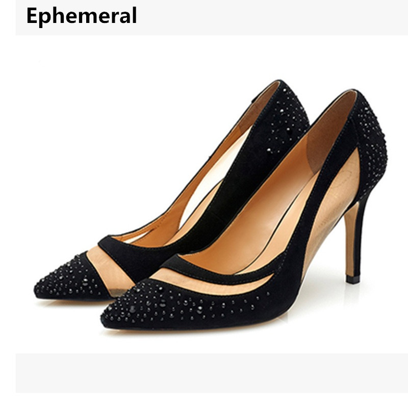Lady Plus Size 35-46 Sexy Mesh Patching Customized Luxury Diamond Pointed Toe Genuine leather High Heels Shoes Women Pumps Party lady plus size 35 46 sexy mesh patching customized luxury diamond pointed toe genuine leather high heels shoes women pumps party