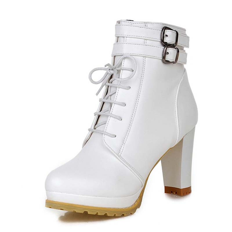 Women Thick Heel Ankle Boots Heels Lace Up Short Boots ...