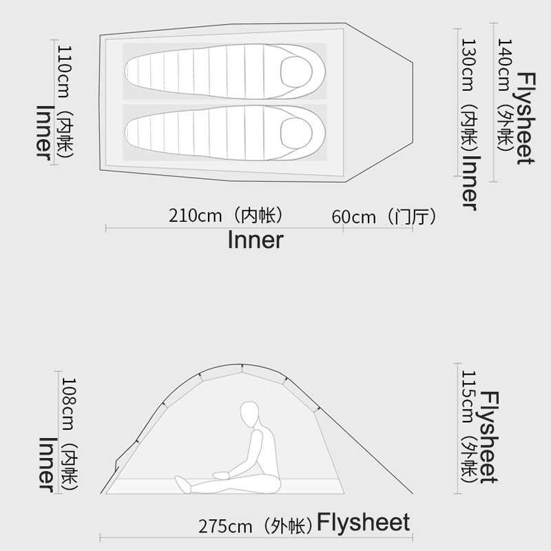 De Gratis Geesten TFS PANGOLIN2.0 Eenzijdige siliconen Coating 2 persoon 3 Seizoen Ultralight Waterdichte Camping Tent Black Label - 2