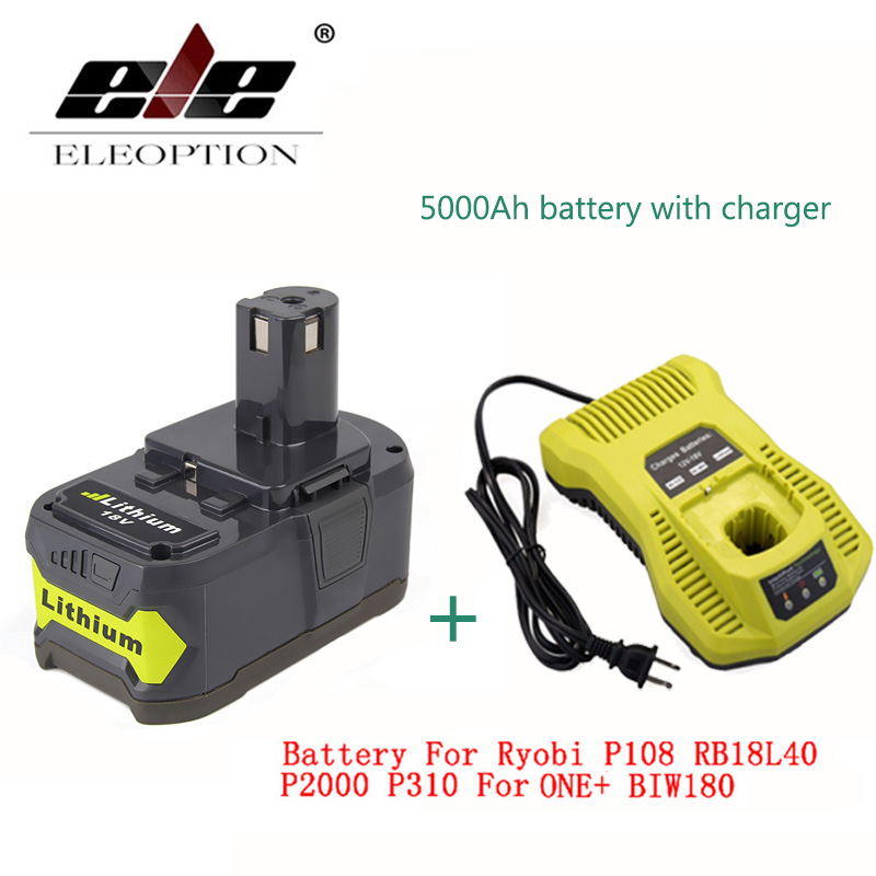 ELEOPTION With Charger 18V 5000mAh Li-Ion Rechargeable Battery For Ryobi 18v battery and charger P108 P310 For ONE+ BIW180 ac220 240v charger uc18yksl replace for hitachi 14 4v 18v li ion battery uc18yrsl bsl1415 bsl1420 bsl1440 bsl1450 uc18ygsl