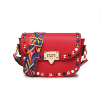 Candy Colors New Fashion Rivet Mini PU Leather Crossbody Bags For Women S Famous Brand Designer
