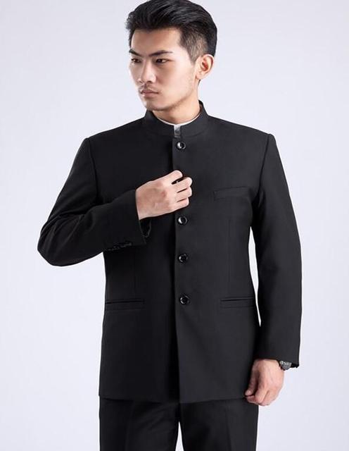 2019 אביב ובסתיו slim fit בלייזר גברים חליפת טוניקה הסינית מעיל זכר חדש עיצוב חליפות גבר 1 אופנה טרייל צווארון עומד