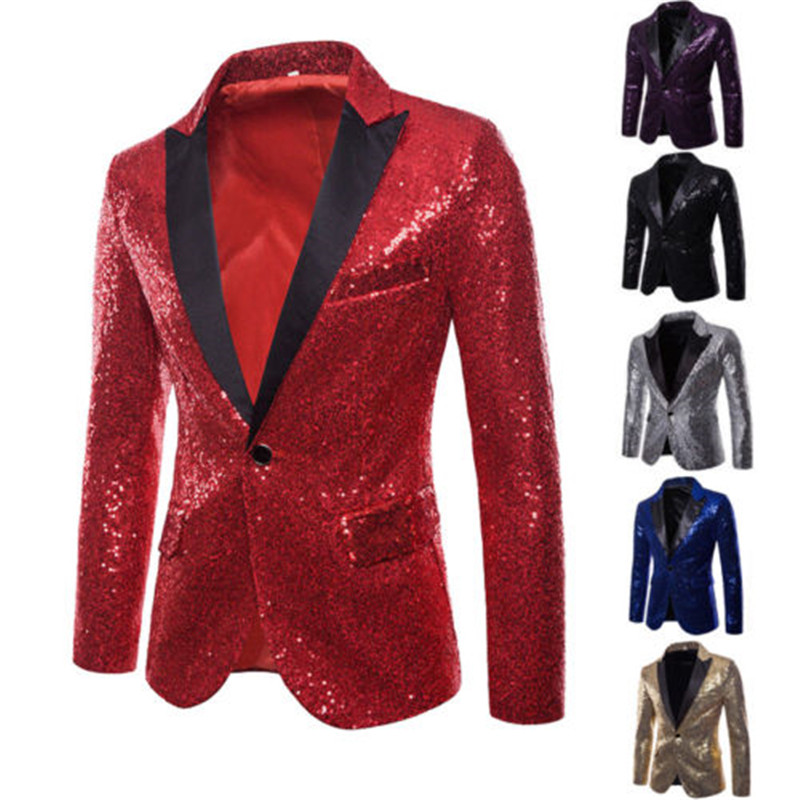 Fashion Men Sequins Blazer Golden Silvery Sequin Blazer Men Jacket Long Sleeve One Button Blazers Evening Party Stage Jackets