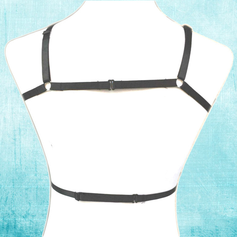 HTB18Nb.MpXXXXazXVXXq6xXFXXX5 Goth BDSM Bondage Black Pentagram Cage Bra Harness Accessory For Women