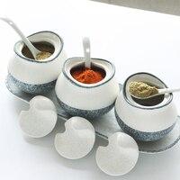 Kitchen ceramic seasoning jar seasoning box three piece set salt pot supplies porcelain seasoning bottle wx9041454