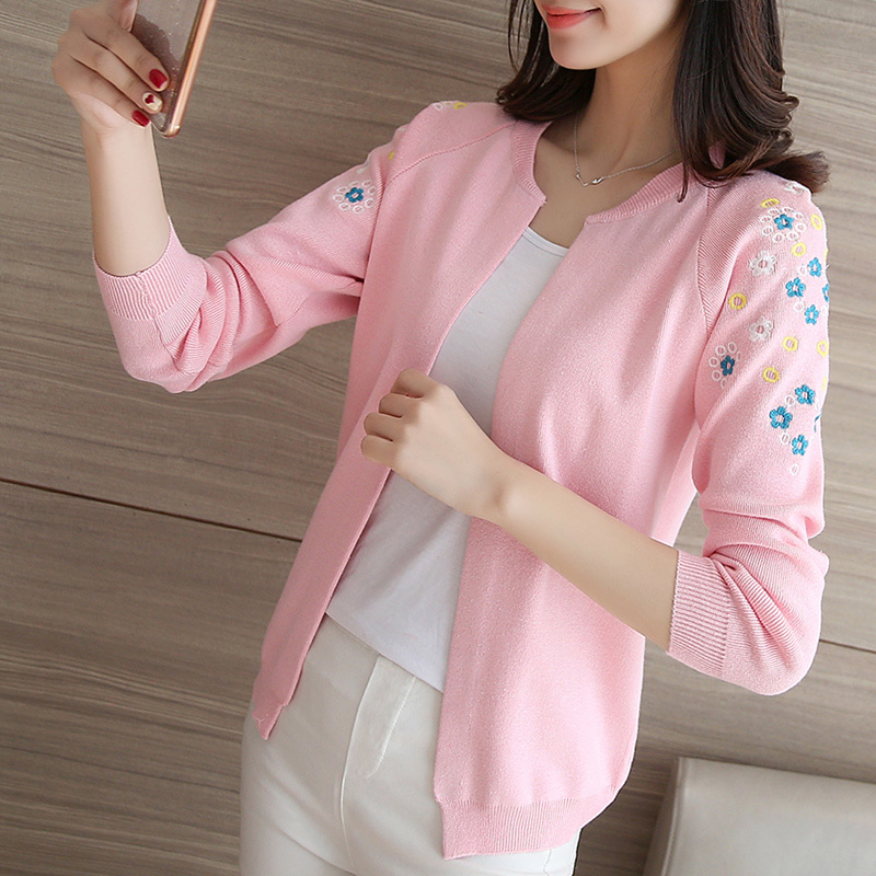 High Quality Autumn Cardigan Women Casual Floral Pattern Knitted Blouse Long-sleeve Tops Female Fashion Sweaters Cardigans F389