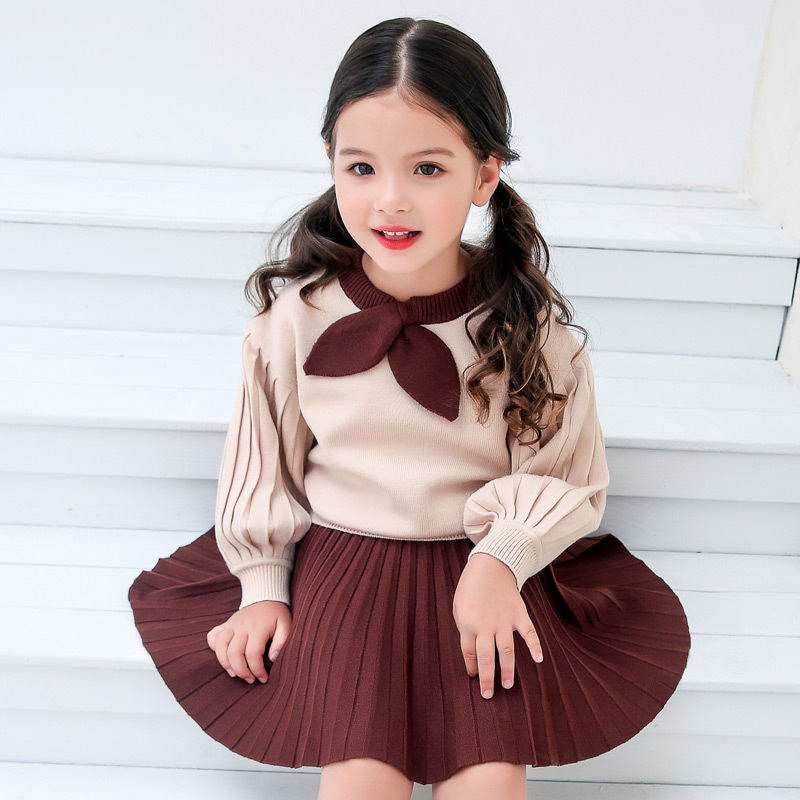 Girls Winter Clothes Sweater Skirt 2pcs Set Long Sleeve Pullovers Knitted Sweater Blue Skirt Suit for 4 6 8 10 12 14 Years 56A4 bear leader girls skirt sets 2018 new autumn&winter geometric pattern long sleeve sweater skirt 2pcs knitwear sets for 3 7 years