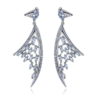 Free Shipping Superdeals Hot Sell Girlfriend Gift Trendy Clear Color Cz Drop Earrings