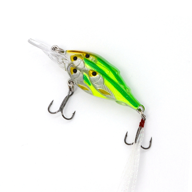 1Pcs Isca Wobbler Artificial Bait Bass Pesca Hard Fishing Lures Minnow With Feather Hooks 3D eyes Crankbaits 7cm 6.2g Laser