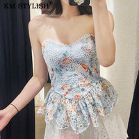 [IN STOCK]2019Zimm Summer New Sweet Lady Printed Tube Top Ruffled Off Shoulder Top Water soluble Flower Cutout Lace Floral Camis