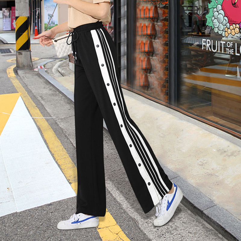LANMREM 2019 summer new fashion clothes women high waist Thin side striped loose   wide     leg     pants   Straight casual trousers QJ464