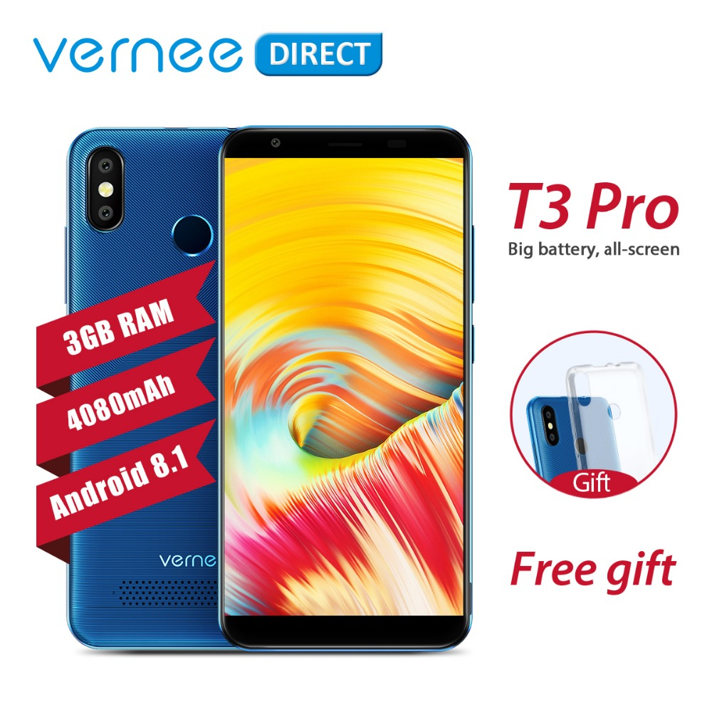 Original Vernee T3 Pro 3 GB RAM 16 GB ROM Android 8,1 Quad-Core teléfono móvil 5,5 pulgadas 4080 mah 5MP + 13MP Smartphone con el regalo libre