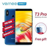 Original Vernee T3 Pro 3GB RAM 16GB ROM Android 8.1 Quad Core Mobile Phone 5.5 Inch 4080mAh 5MP+13MP Smartphone with Free Gift