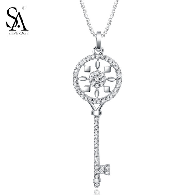 Authentic 925 Sterling Silver Key Necklaces for Women Classic Original Design White Fine Jewelry Key Pendants Wedding Gift