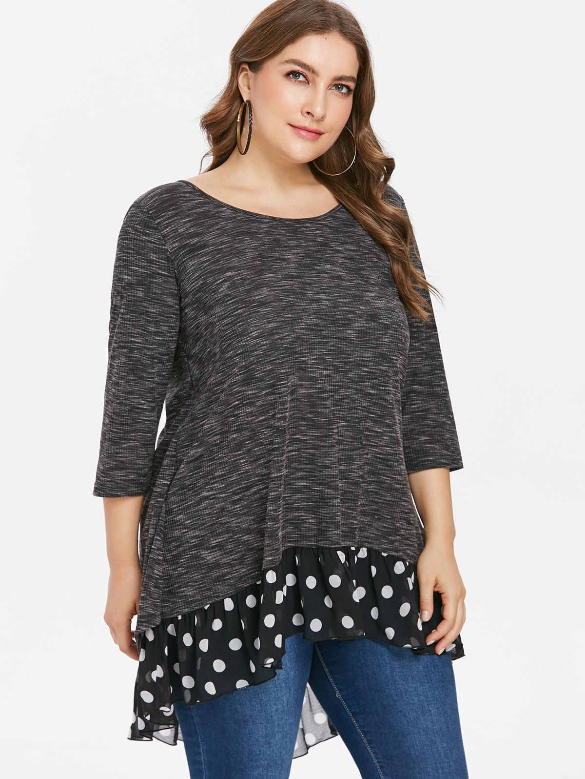 09c751a1a8d ... Wipalo Plus Size 5XL Polka Dot Three Quarter Sleeve T-Shirt Bow Embellished  Asymmetrical Hem ...