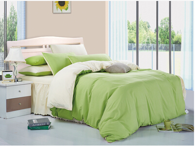 Quality Cotton Made Bedding Set Double Color Combination Bed Sheet Skirt
