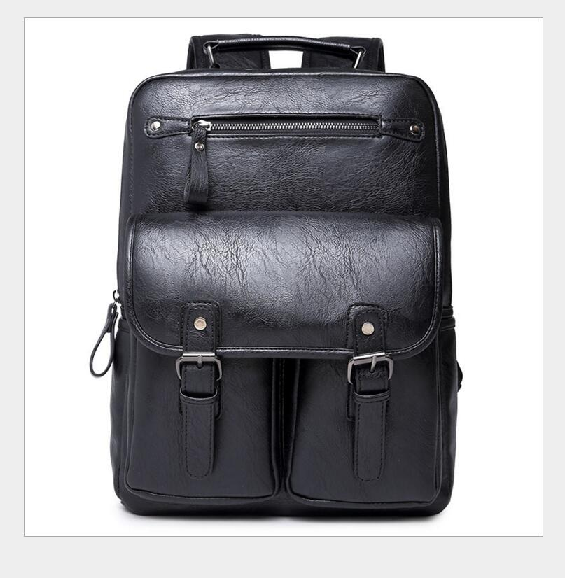 ФОТО 2017 New High Quality Genuine PU Large Backpacks Mens Laptop Bag Daypack black business Casual Backpack ipad bags  S76