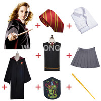 Free Shipping Harry Potter Gryffindor Hermione Granger Cosplay Robe Cloak Skirt Uniform Wand Custom Made For