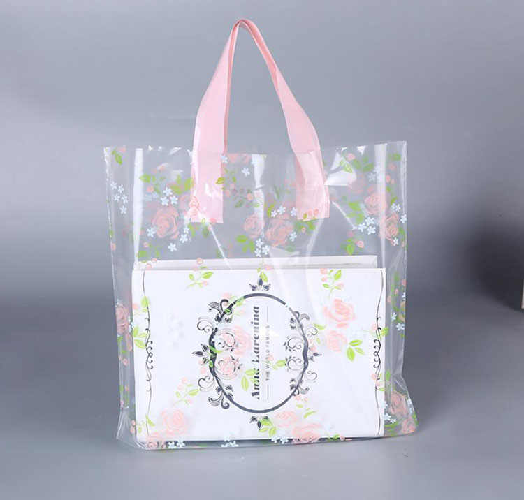 50 PCS Beautiful Clear Rose Plastic Gift Packaging Bag with Handle, Thick Clothes Shoes Shopping Storage Bag Pouch