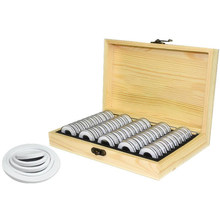LJL-50 Coin Storage Boxes Round Coin Storage Wooden Box Commemorative Coin Collection Box(China)