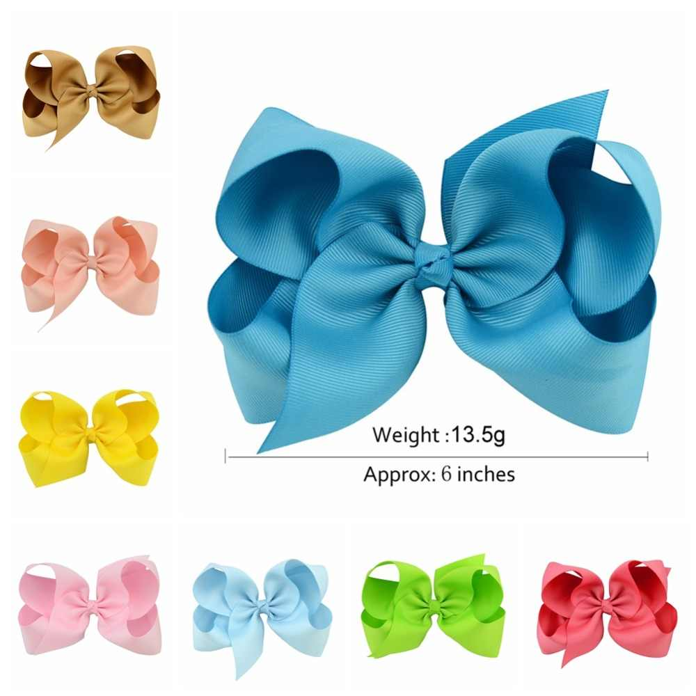 1 pcs 6 Inch Grosgrain Ribbon Boutique Large Solid Bows With Clip Hairpins Kids Girl Hair Accessories Gift 588