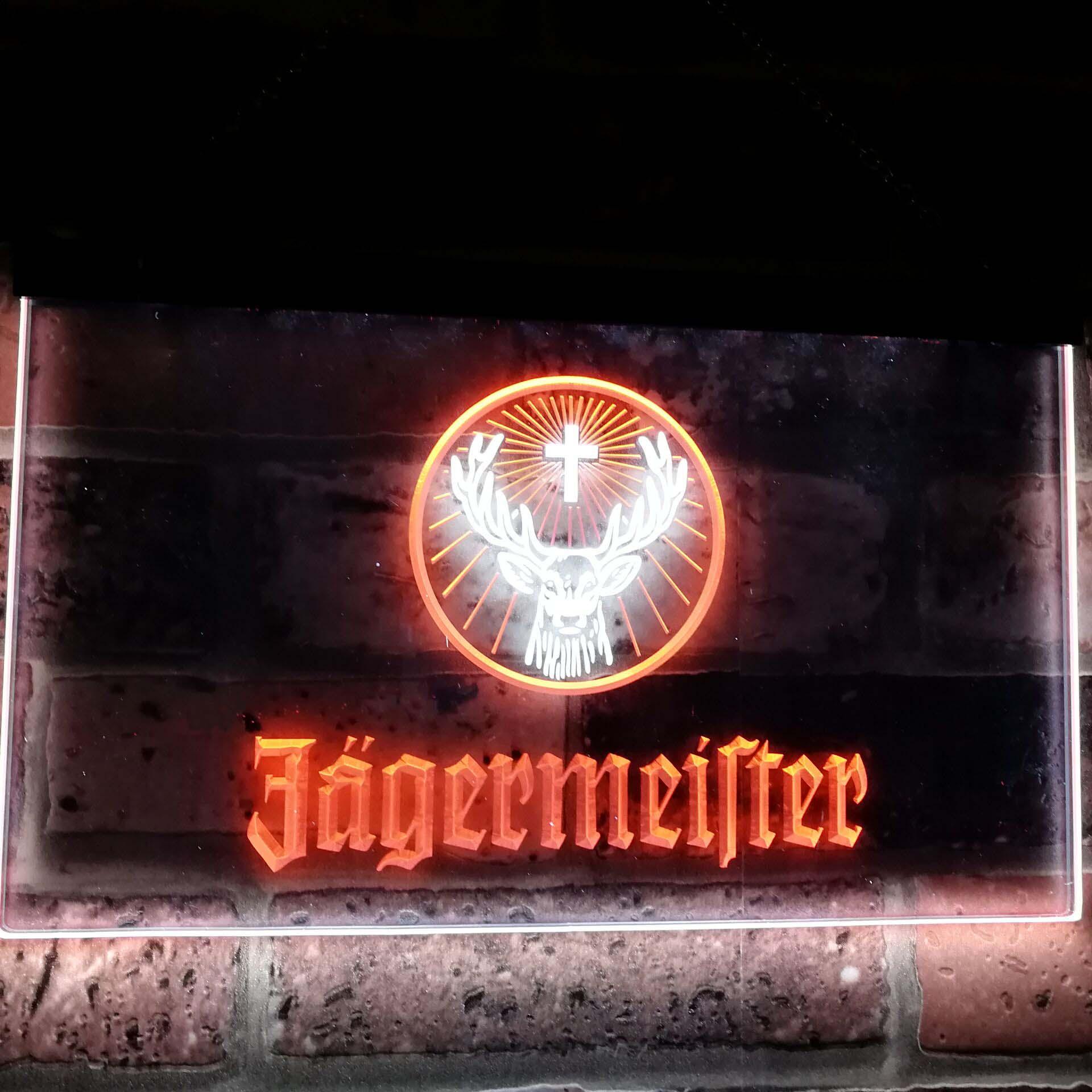 Jagermeister tête de cerf double couleur Led néon signe st6-a0288