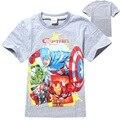 Capitão América Traje Meninos de Manga Curta T-shirt Moda Verão O Neck T Shirt Das Crianças Dos Miúdos Encabeça Roupas Tees