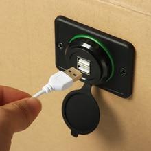 Универсальный автомобильный Зарядное устройство с двумя портами USB 3.1A 12/24V Мощность адаптер Водонепроницаемый Зарядное устройство разъем для USB для Авто Мото шины