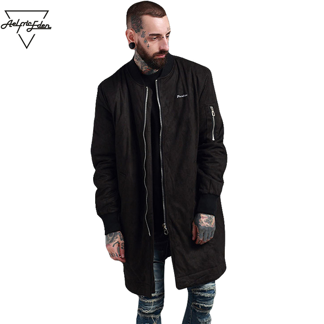premium selection 5859f 254c8 US $106.14 |Aelfric Eden Pelle Scamosciata Parka Jacket per Mens Giacche  Lunghe Mens Giacca invernale Parka Streetwear Hip Hop Caldo Uomini Giacca  ...