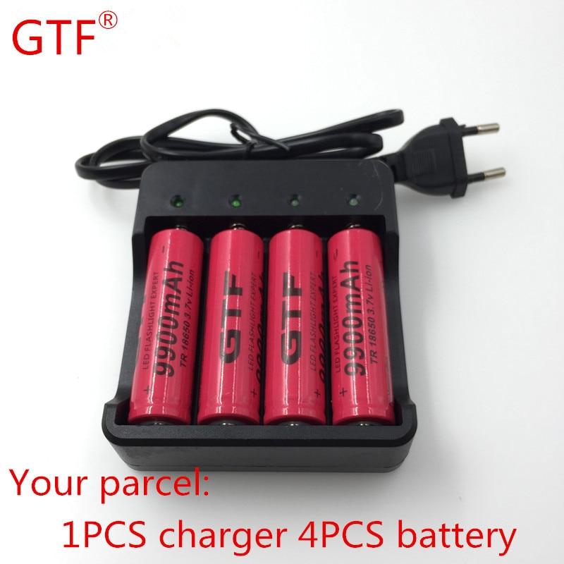 4pcs <font><b>GTF</b></font> Brand <font><b>18650</b></font> <font><b>battery</b></font> 3.7V <font><b>9900mAh</b></font> rechargeable li-ion <font><b>battery</b></font> for cell <font><b>18650</b></font> batery+Intelligent <font><b>battery</b></font> charger