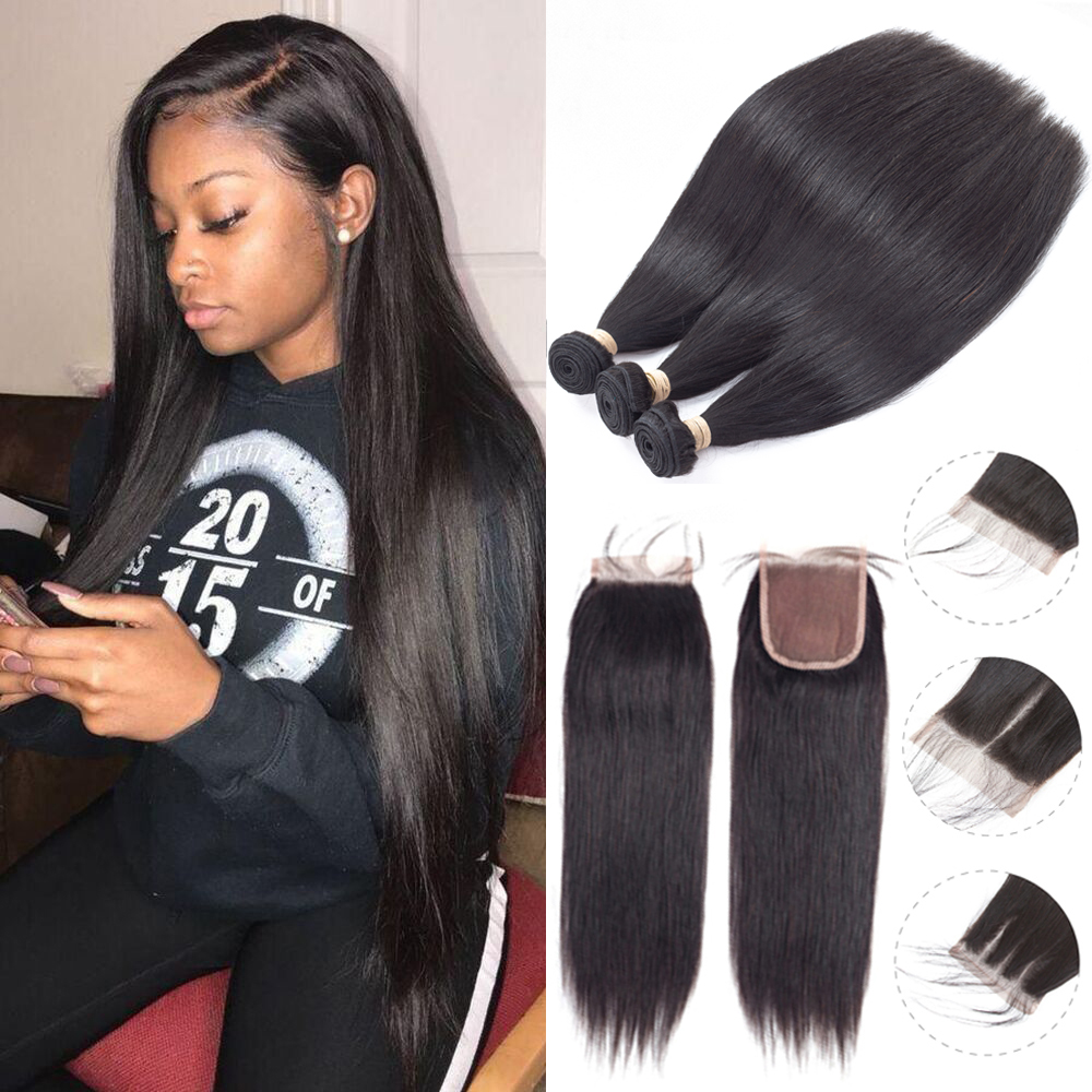 Sapphire Straight Bundles With Closure Brazilian Hair Weave Bundles With Closure Human Hair Bundles With Closure