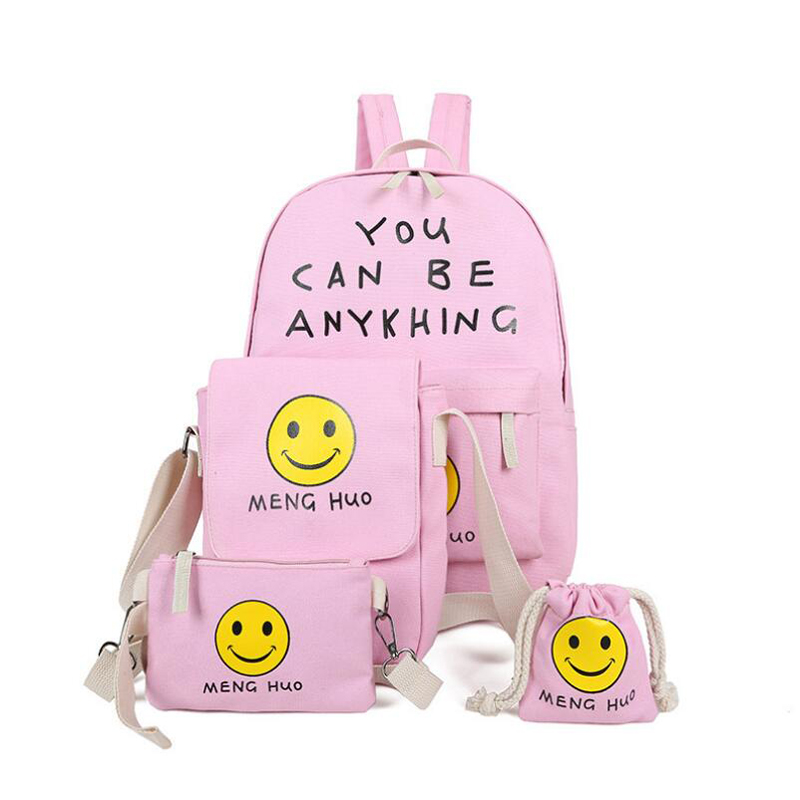 Fashion Smile Face Printing Backpack 4 Pieces/Set Female School Black/Blue/ Bags For Teenagers Mochilas Canvas Backpack New u pick fashion lovely smile face transparent tpu backpack