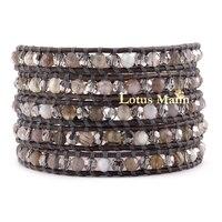 Natural Grey Agate Crystal Shine Vintage Grey 5 Ring Bracelet