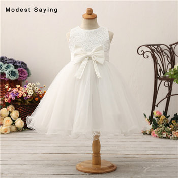 Lovely Ivory Ball Gown Lace Flower Girl Dresses 2018 with Big Bow Kids Girls Puffy Pageant Party Prom Gowns communion dresses