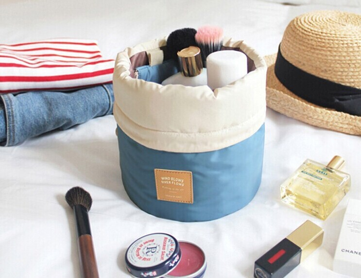 Barrel Shaped Travel Cosmetic Bag Nylon Wash Bags Makeup Organizer Storage High Capacity Drawstring Elegant Drum In Cases From