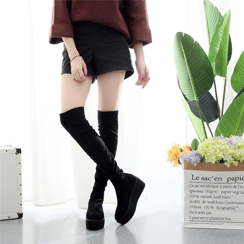 Avec Wedge Stretch Coréenne En 2018 De Chaussures La Noir Mince Ronde Manches Hauts Version Tissu Jambes New Tête Talons BEgRq