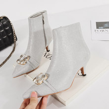 3d6482b6e571 Elegant Lady Shine Bling Crystal Pointed Ankle Boots Women Sexy Gold Silver  Heels Boots Autumn Pumps Scarpin Party Wedding Shoes