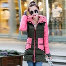 new 2016 medium-long slim parka fashion knitting spliced cuff winter coat women thickening hooded thickening down jacket female