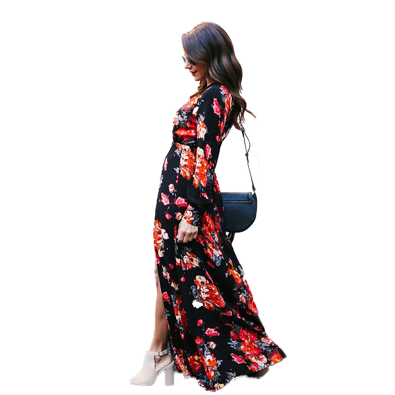 516631e30a785 Isiksus V Neck Maxi Dress Long Sleeve Female Long Elegant Party Dresses  Floor Length Floral Autumn Beach Dress for Women DR040-in Dresses from  Women's ...