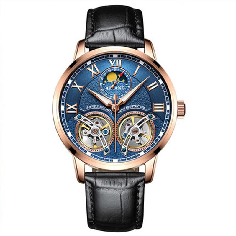 лучшая цена AILANG Fashion Simple Men Automatic Mechanical Watches Tourbillion Hollow Leather Waterproof Business Male Clock reloj hombre
