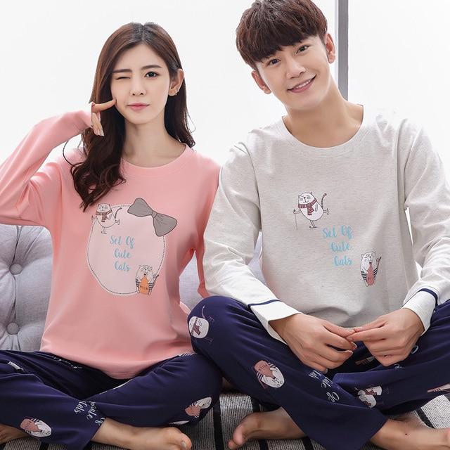 49107d18e9134 autumn couples pajamas lovely cartoon lovers pajama sets cotton casual  tracksuit fashion pijamas mujer plus size