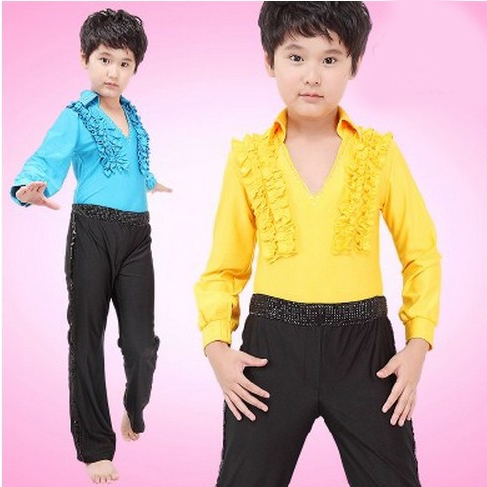 Rhinestone Shiny Ruffled Design Blue Yellow Leotand And Pants Boy Costume Dance Modern Suit For Boys Dance Outfits